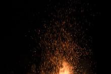Bonfire Spark In The Dark Sky In Night, Shallow Focus