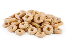 Healthy Cereal Rings On White Background. Good Morning. A Healthy, Healthy Breakfast. Dry Muesli.