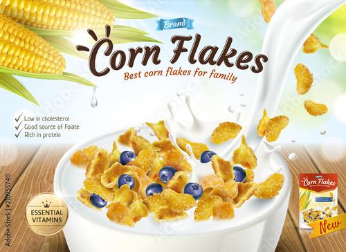 Cuadros en Lienzo Delicious corn flakes ad