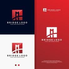 Simple Red Bridge Logo Design