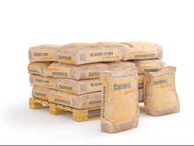 Cement In Bags On Pallet, 3D R...
