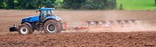 Panorama Agrarwirtschaft Traktor Beim Umpflügen