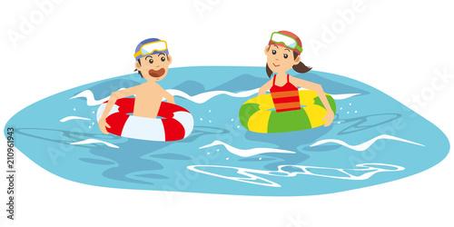 海で泳ぐ子供達のイメージイラスト Adobe Stock でこのストック