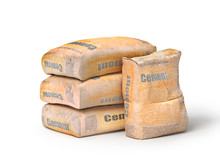 Cement In Bags, 3D Rendering, Isolated On White Background.