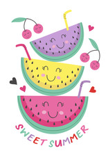 Poster With Cute Watermelon  -...