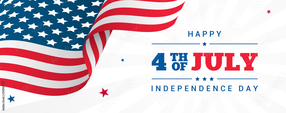 Fototapeta 4th of July Banner Vector illustration, USA flag waving with stars on white rays background.