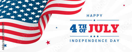 Fototapeta 4th of July Banner Vector illustration, USA flag waving with stars on white rays background