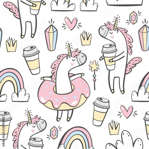 Fotomural Vector seamless pattern with cute unicorn, donuts and coffee