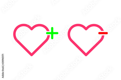 Add Hearts And Remove Lover Symbol Outline Flat Icon Vector