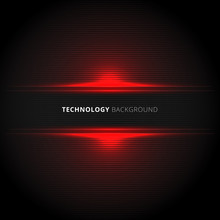 Abstract Technology Red Lines Horizontal Laser Glow Texture On Black Background.