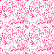A Lot Of Beautiful Pink Outline Rosebuds On White Background, Seamless Pattern