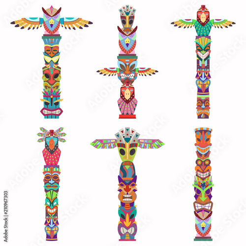 Traditional totem pole with tiki mask and eagle. Vector cartoon flat icons set isolated on white background. Fototapete