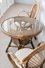 Glass Table And Rattan Wicker ...