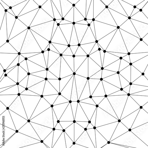 Connect Lines And Dots Vector Technology Background Black