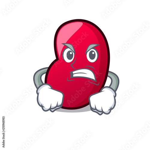 Photo Angry jelly bean mascot cartoon