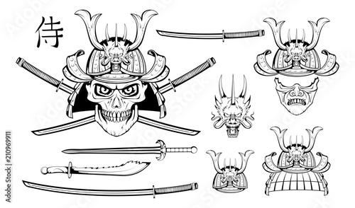 Photo Set of different elements of samurai design - samurai mask, helmet, Japanese sword, katana sword, Chinese dragon and skull