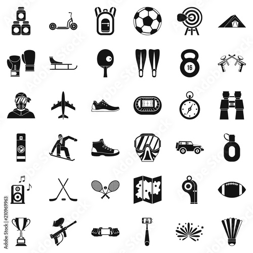 Fototapeta Sportive life icons set. Simple style of 36 sportive life vector icons for web isolated on white background obraz na płótnie