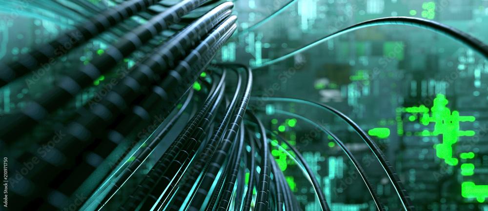 Fototapeta Kabel in Serverraum