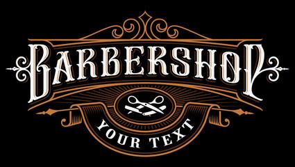 Fototapeta Barbershop logo design.