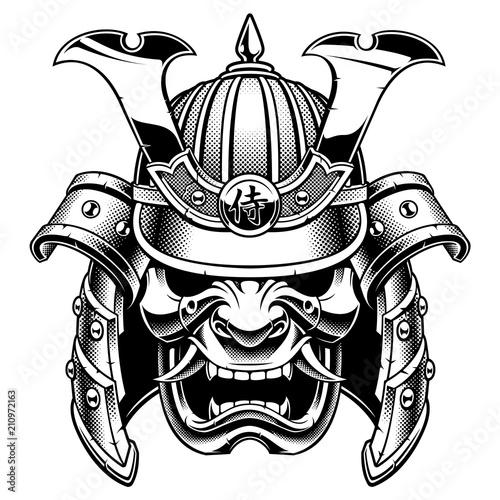 Foto  Samurai warrior mask (B&W version)