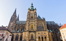Gothic Architectured St. Vitus Cathedral From Bottom