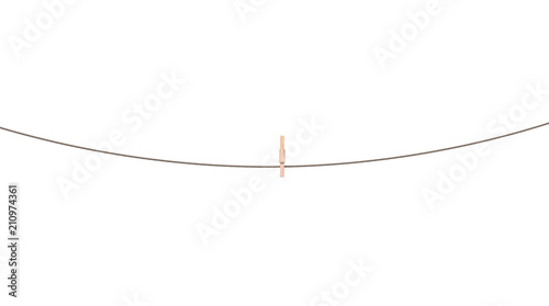 Leinwand Poster rope with clothespin isolated 3d illustration