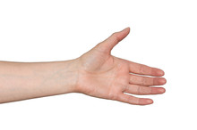 Caucasian Woman's Hand In Helpful Gesture. Empty Open Hand Showing Palm. Isolated On White.