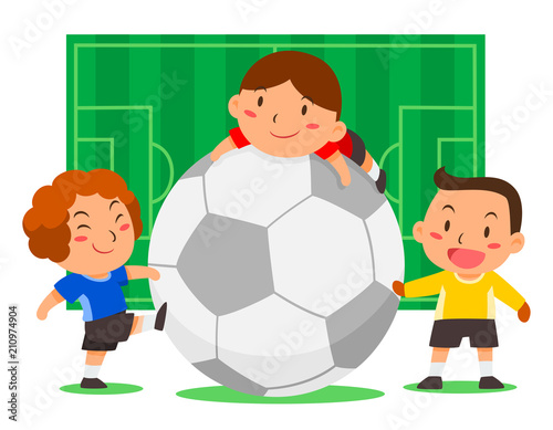 Cartoon Illustration Of Cute Soccer Players With Big Ball On