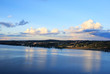 Deep blue sky reflected of Hudson River in upstate New York