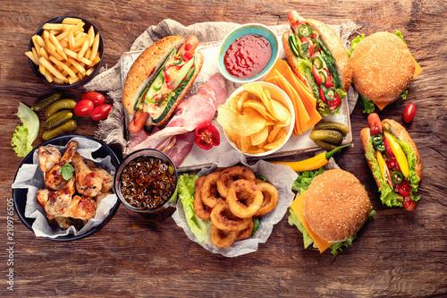 Obraz na plátně American food. Fast food