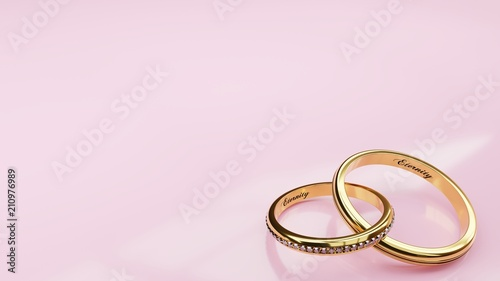 Wedding card Eternity - pink background and two golden rings joined together for Fototapet