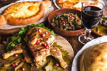 A Lot Of Delicious National Dishes Of Georgia