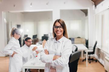 Portrait of a beautiful female scientist.