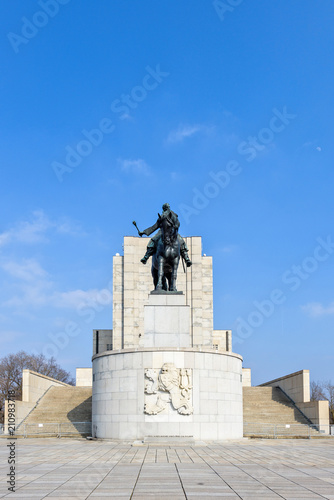 Equestrian statue of Jan Zizka near Vitkov memorial Canvas Print