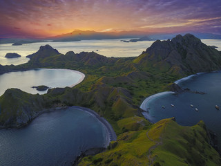 Panoramic view of majestic Padar Island during magnificent sunset. Soft focus and Noise slightly appear due to high iso.