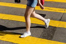 Walking Woman Crossing Road At Causeway Bay Shopping District Hong Kong