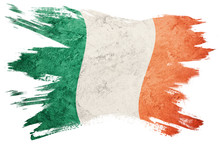 Grunge Ireland Flag. Irish Flag With Grunge Texture. Brush Stroke.