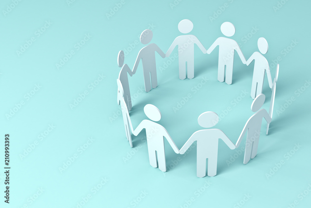 Fototapeta White Paper People Holding Hands In Circle on blue background . 3D rendering.