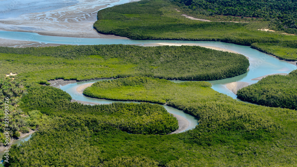 Fototapety, obrazy: Beautiful Aerial view of river, Bissagos Archipelago (Bijagos), Guinea Bissau.  UNESCO Biosphere Reserve