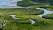 Beautiful Aerial view of river, Bissagos Archipelago (Bijagos), Guinea Bissau.  UNESCO Biosphere Reserve