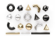 Set Of 3d Render Realistic Primitives On White Background. Isolated Graphic Elements. Spheres, Torus, Tubes, Cones And Other Geometric Shapes In Golden, Silver And Black Colors For Trendy Designs.