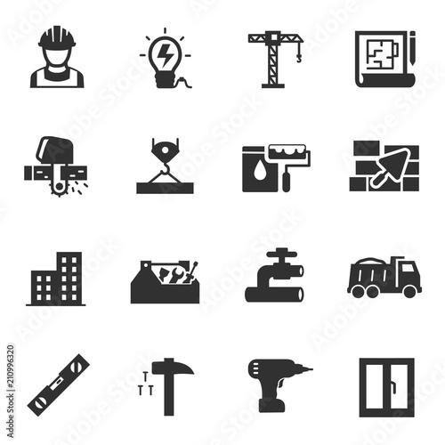 Building construction, monochrome icons set  Constructing a