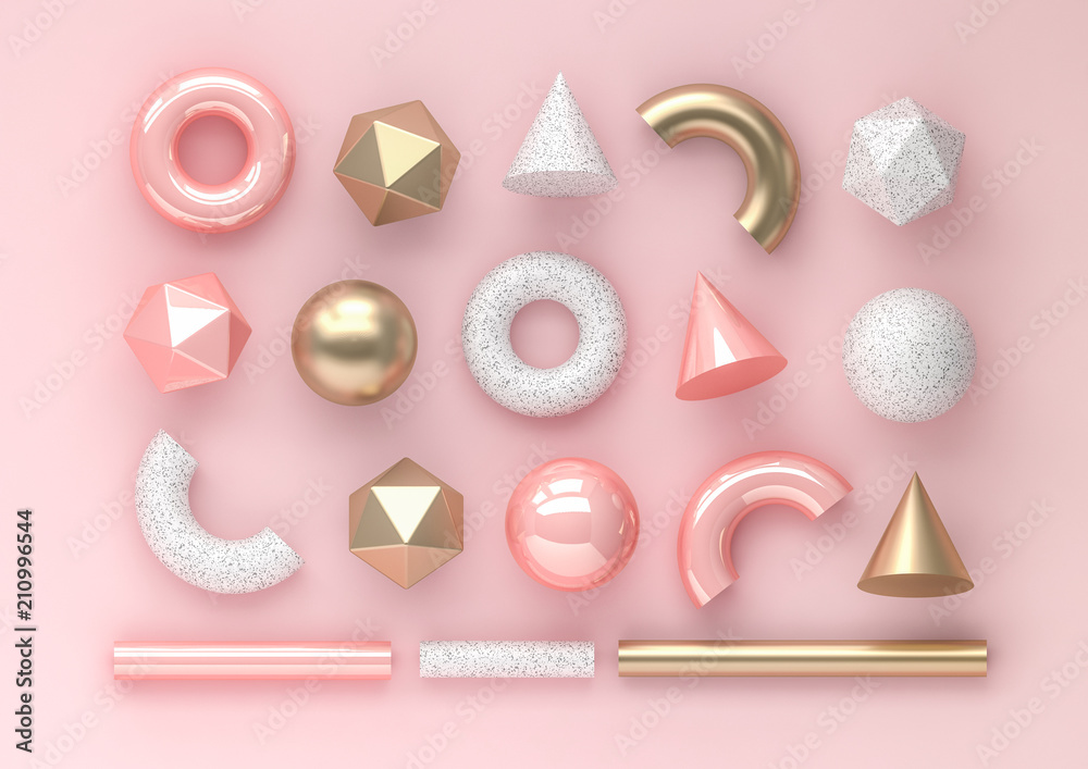 Fototapety, obrazy: Set of 3d render realistic primitives on pink background. Isolated graphic elements. Spheres, torus, tubes, cones and other geometric shapes in golden metallic and white colors for trendy designs.