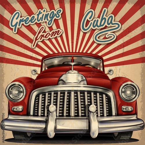 Rocznika turystyczny kartka z pozdrowieniami z retro samochodem. Kuba.