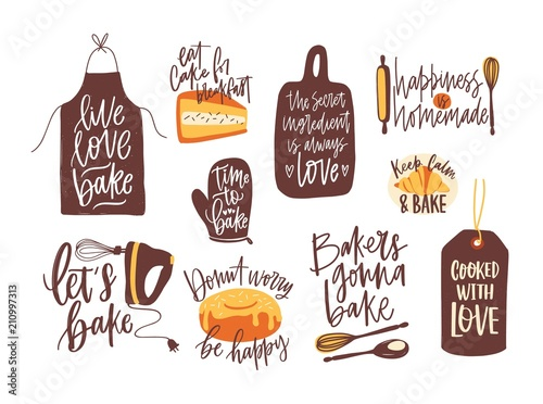 Fotografía Bundle of lettering written with calligraphic font and decorated with kitchenware for baking and baked food