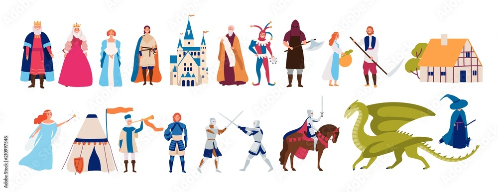 Fototapeta Collection of cute funny male and female characters and items and monsters from medieval fairytale or legend isolated on white background. Colorful vector illustration in flat cartoon style.