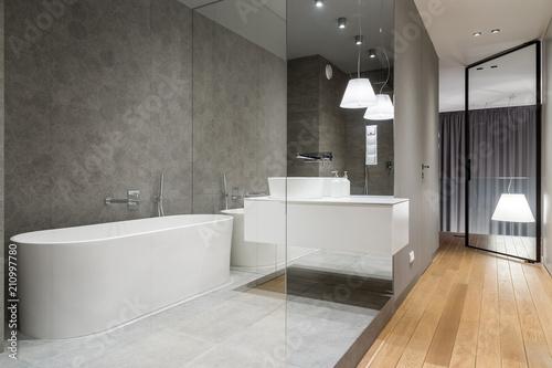 Obraz Luxury bathroom with hexagon tile - fototapety do salonu