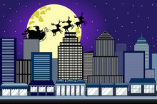 Silhouette Of Santa Claus In His Christmas Sled Or Sleigh Pulled By Three Reindeer Flying Over City Metropolis Skyscrapers