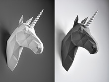 Contrast Collage Of Black And White Paper Unicorn Heads. Innovative Interior Design Details. Straight Lines. Original Geometrical Shape. Shadows. Concept Of Interior Shooting.