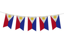 Philippines National Flag Festive Bunting Against A Plain White Background. 3D Rendering
